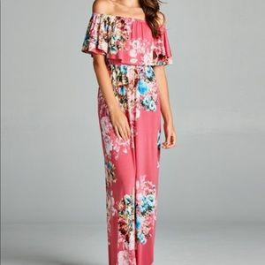 Dresses & Skirts - Pink Floral Print Off Shoulder Maxi Dress